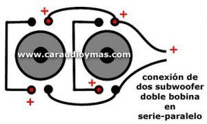 Dos woofer doble bobina en serie paralelo. Al conectar dos woofer doble bobinaen serie paralelo, los ohms resultantes son o equivalen a los ohms de una sola bobina.
