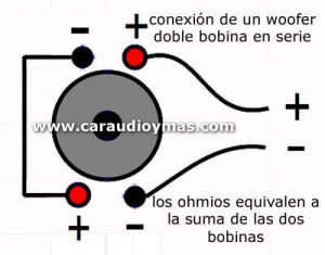 Woofer doble bobina en serie. Al conectar un woofer doble bobinaen serie, los ohms resultantes son la suma de de sus bobinas.